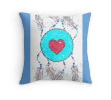 Red Heart Shield Throw Pillow