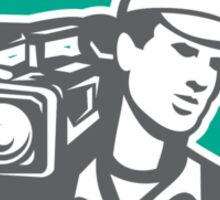 Cameraman Film Crew HD Camera Video Side Retro Sticker
