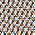Orange, aqua blue and gray hexagon pattern by Mhea