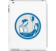 Nurse Tending Sick Patient Circle Retro iPad Case/Skin