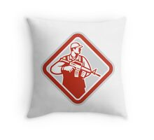 Soldier Serviceman Military Assault Rifle Shield Retro Throw Pillow
