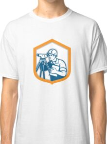 Surveyor Geodetic Engineer Survey Theodolite Shield Retro Classic T-Shirt