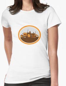 Vintage Farm Tractor Farmer Plowing Oval Retro T-Shirt