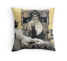 Skyclad Witch with Familiars Throw Pillow