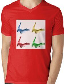 Four Coloured Crocodiles Mens V-Neck T-Shirt