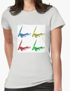 Four Coloured Crocodiles Womens Fitted T-Shirt