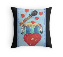 Drumming the Heartbeat Throw Pillow