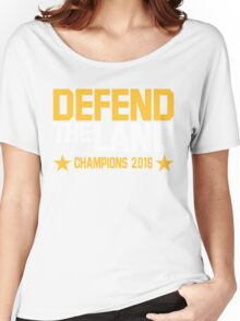 "Cleveland Cavaliers Champions 2016 ""DEFEND THE LAND"" KING JAMES LEBORN Women's Relaxed Fit T-Shirt"