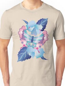 Pretty Purple Turquoise Butterfly Blue Winter Hibiscus Flowers Unisex T-Shirt