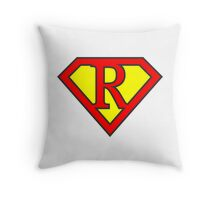 R letter in Superman style Throw Pillow