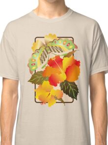 Pretty Green Autumn Butterfly Orange Hibiscus Flowers Classic T-Shirt