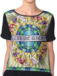 Colorful Hand-Drawn Jewel Stained Glass Flowers Chiffon Top