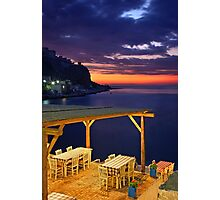 Have a seat at Limeni - Mani, Greece Photographic Print