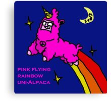 Pink -Flying-Rainbow-Uni Alpaca Canvas Print