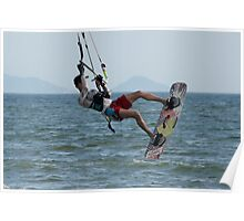 Kite surfer jumping with arm hiding face Poster