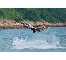 Male kite surfer horizontal in big jump Photographic Print