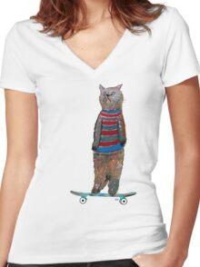 the cat skate  Women's Fitted V-Neck T-Shirt