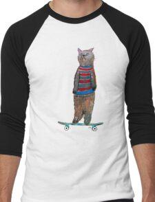 the cat skate  Men's Baseball ¾ T-Shirt