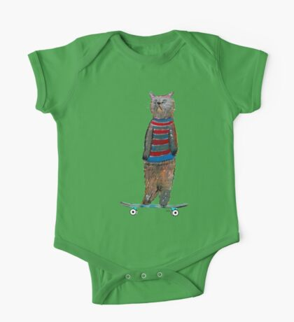 the cat skate  One Piece - Short Sleeve
