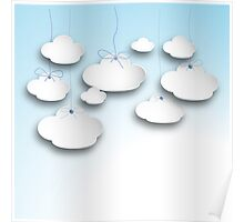 Clouds on a string in Light  Blue Poster