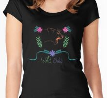 Wild Child Watercolor Lioness floral Crest Women's Fitted Scoop T-Shirt