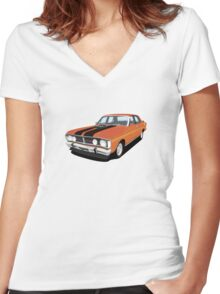 Ford Falcon XY GT  - Vermillion Fire Women's Fitted V-Neck T-Shirt