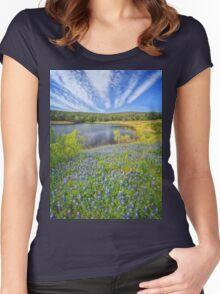 Bluebonnet Lake Skies Women's Fitted Scoop T-Shirt
