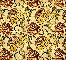 Retro 70's Golden Yellow Daisy Pattern  by Perrin Le Feuvre