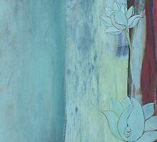 Lotus Blue contemporary abstract peaceful art by JodiFuchsArt