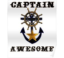 Captain Awesome - Sailor Nautical Fishing Poster