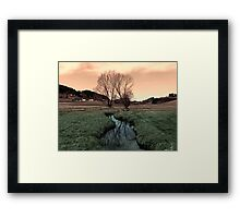 A stream, dry grass, reflections and trees II | waterscape photography Framed Print