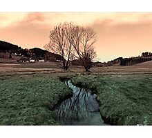 A stream, dry grass, reflections and trees II | waterscape photography Photographic Print