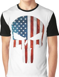 The Punisher American Flag Grunge Graphic T-Shirt