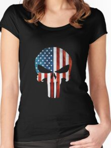 The Punisher American Flag Grunge Women's Fitted Scoop T-Shirt
