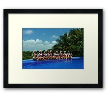 16 bikini models posing for White Tank Project  Framed Print