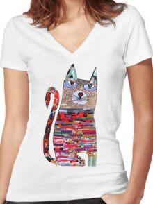 pepper the cat  Women's Fitted V-Neck T-Shirt