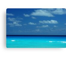 Tropical ocean view in the middle of sunny day in Cancun Mexico Canvas Print