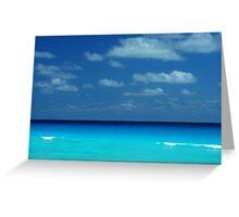 Tropical ocean view in the middle of sunny day in Cancun Mexico Greeting Card