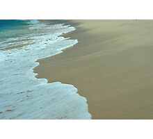 Tropical ocean and beach sand view in the middle of sunny day Photographic Print