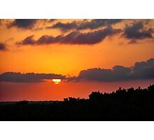 Tropical sunset with red sky, clouds and horizon line Photographic Print