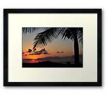 Tropical sunset with red sky, clouds and coconut tree silhouette 2 Framed Print