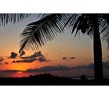 Tropical sunset with red sky, clouds and coconut tree silhouette 2 Photographic Print
