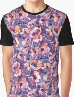 May Afternoon - a watercolor floral in purple and peach Graphic T-Shirt