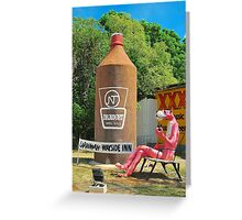 The Big Pink Panther and the Big Beer Bottle Greeting Card