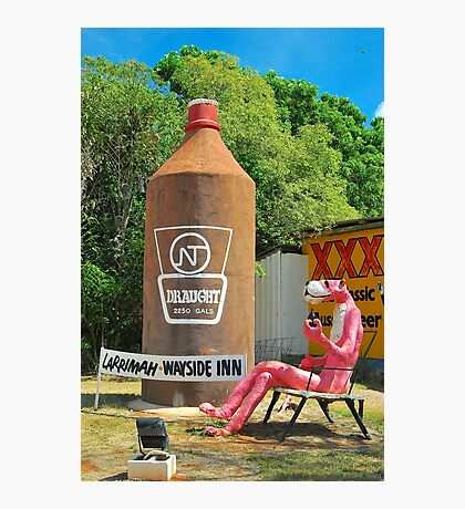 The Big Pink Panther and the Big Beer Bottle Photographic Print