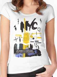 NYC POSTER scribble quote Women's Fitted Scoop T-Shirt