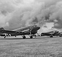 Sky Trains at Duxford - Mono by jonathan1984