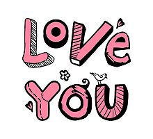 Love You Text Design by silvianeto