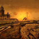 A digital painting of the The lighthouse, Old Hunstanton, England 19th century by Dennis Melling