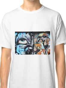 Abstract Graffiti Face on the textured brick wall Classic T-Shirt